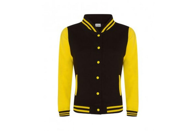 AWDis Womens/Ladies Girlie Varsity Jacket (Jet Black/Sun Yellow) (Medium)