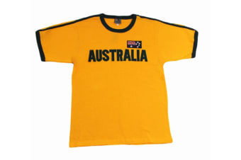 Adult Australia Day Souvenir T Shirt Cotton Embroidery Flag  - Green and Gold