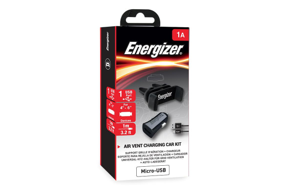 Energizer Car Kit with Vent Phone Holder and Micro USB Connector Cable