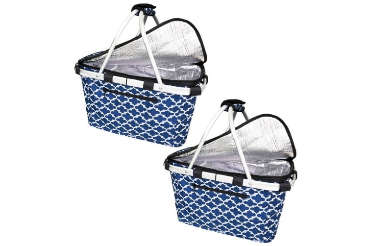 2x Sachi Collapsible Foldable Insulated Picnic Shopping Bag w  Lid Moroccan Navy