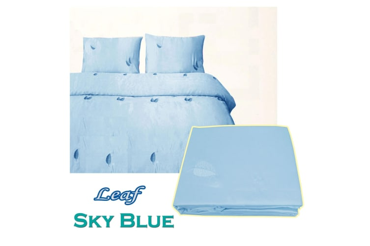 Leaf Satin Embroidery Quilt Cover Set Sky Blue Queen