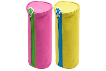 Glitter Critters Roll Me Barrel Case Fabric Pencil Storage Bag Pink & Yellow