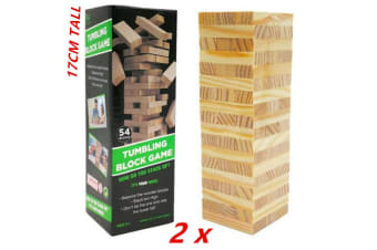 2pk Building Blocks Toy Jenga Board Games Wood Tumbling Tower 17CM 54Pcs Family