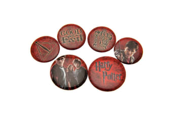 Harry Potter Red Button Badge Set (Red) (One Size)