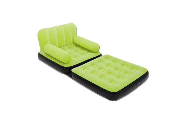 Bestway Inflatable 2 in 1 Couch Chair Air Bed Single Green