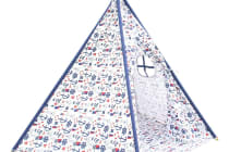 5 Poles Teepee Tent with Storage Bag (White/Green)