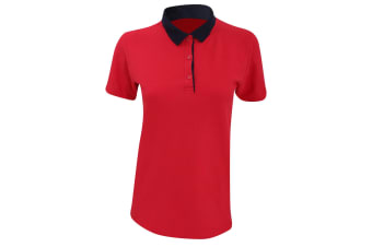 Anvil Womens/Ladies Double Pique Semi-Fitted Polo Shirt (Red/ Navy)