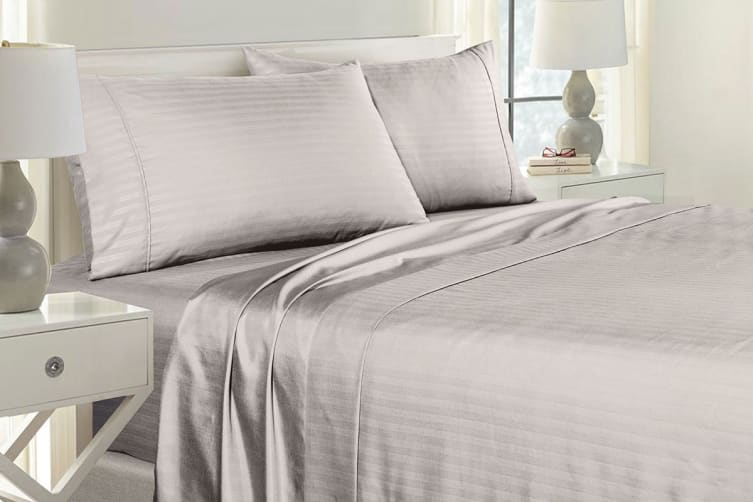 Royal Comfort 1000TC Blended Bamboo Bed Sheet Set with Stripes (Double, Silver Grey)