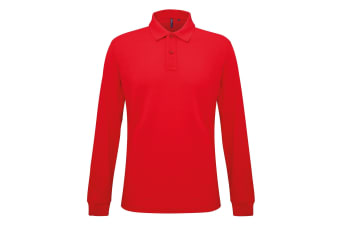 Asquith & Fox Mens Classic Fit Long Sleeved Polo Shirt (Classic Red) (S)