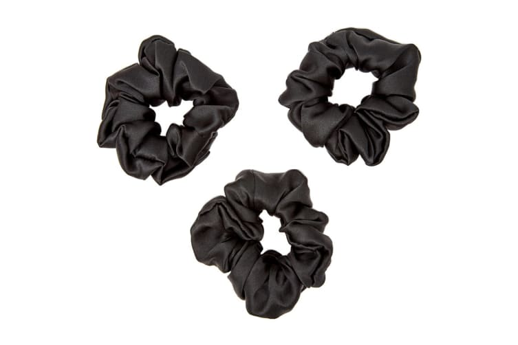 Gioia Casa Luxury Silk Scrunchie 3 Pack (Black)