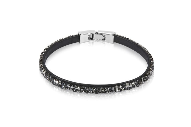 Raw Crystal Bracelet Embellished with Crystals from Swarovski -Dark Gray
