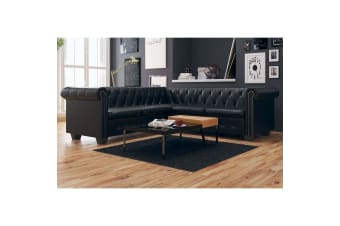 vidaXL Chesterfield Corner Sofa 5-Seater Artificial Leather Black