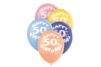 Unique Party 12 Inch 50th Assorted Latex Balloons (Multicoloured)