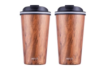 2x Avanti 410ml Go Cup Double Wall Insulated S S Travel Mug w Lid Driftwood