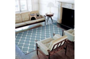 Flat Weave Stitch Design Rug Blue