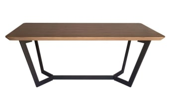 Delta Collection | Wood Dining Table | Matte Black & Walnut | 180cm