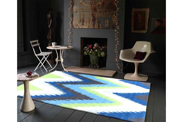 Ikat Chevron Blue Green Rug 225x155cm