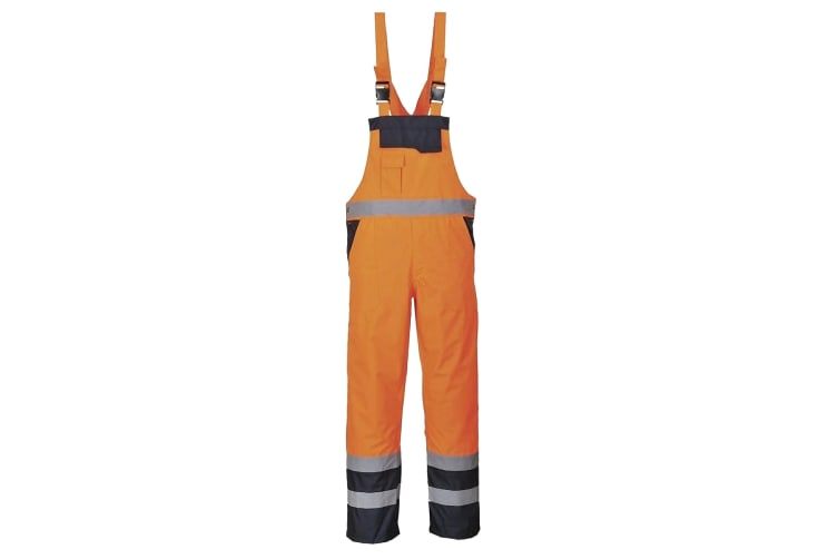 Portwest Unisex Contrast Hi Vis Bib And Brace Coveralls - Unlined (S488) / Workwear (Orange/ Navy) (2XL)