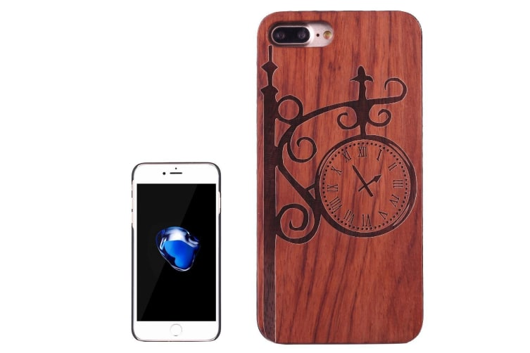 For iPhone 8 PLUS 7 PLUS Case Rosewood Street Clock Wooden Protective Cover