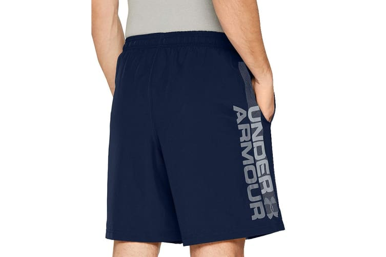 Under Armour Men's Woven Graphic Wordmark Shorts (Academy/Graphite, Size Small)