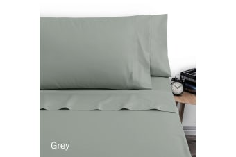 250TC Polyester Cotton Sheet Set Single Grey by Artex