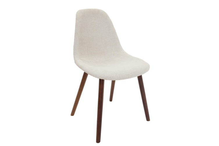 Replica Eames DSW Hal Inspired Chair | Ivory Fabric Seat | Walnut Legs