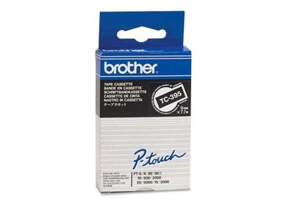 Brother genuine TC395 9MM WHT ON BLK TAPE