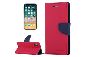 For iPhone XS X Wallet Case Cross Texture Flip Durable Leather Cover Magenta