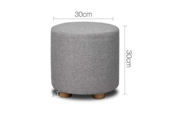 Linen Round Ottoman (Light Grey)