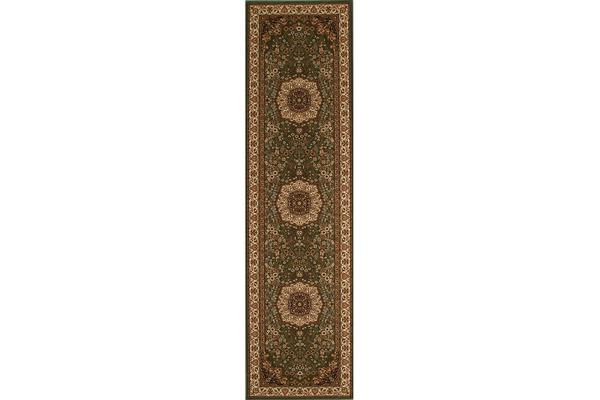 Stunning Formal Medallion Design Rug Green 300x80cm