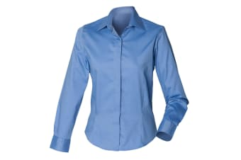 Henbury Womens/Ladies Long Sleeve Oxford Fitted Work Shirt (Corporate Blue)