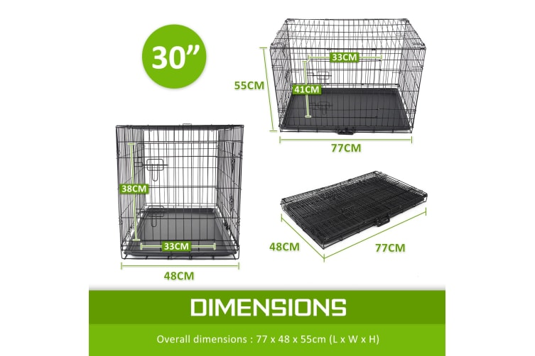 """Foldable Metal Wire Dog Cage w/ Cover - BLUE 30"""""""