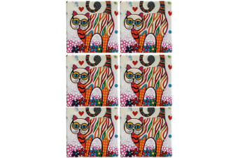 6pc Maxwell & Williams Smile Style Ceramic Tile Coaster Tabby 9cm Placemat
