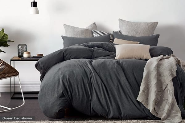 Gioia Casa Jersey Cotton Quilt Cover (Single/Black Marble)