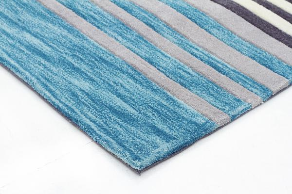 Modern Abrash Stripes Rug Blue Grey 225x155cm