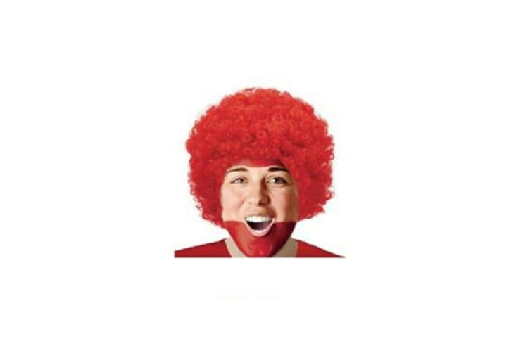 Red Afro Curly Wig Costume Cosplay World Cup Party Fancy Dress Disco 70s 80s Hippie