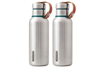 2PK Black + Blum 500ml Vacuum Insulated Stainless Steel Drink Flask Bottle Blue