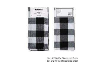 Set of 4 Checkered Tea Towels Black (2 x Waffle, 2 x Printed)