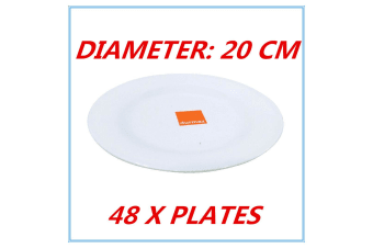 48 x 20cm Melamine Round Plate Birthday Wedding Party Dinner White Cafe Snack Dish