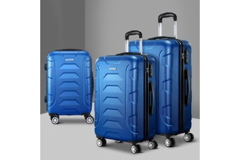 3pc Luggage Sets Suitcases Set TSA Hard Case Lightweight Blue