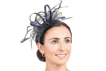 Hawkins Collection Womens/Ladies Beaded Bow And Feather Fascinator (Navy) (One Size)