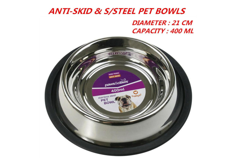 12 x 400ml 21cm Anti-Skid Stainless Steel Pet Dog Cat Puppy Water Food Feeder Bowl Dish Stand