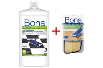 Bona Stone Tile & Laminate Floor Polish w/ Microfibre Applicator Pad for Mop