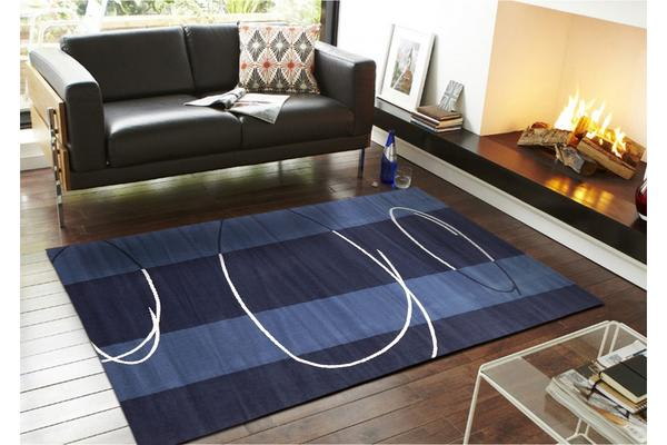 New Modern Retro Design Rug Blue Navy 230x160cm