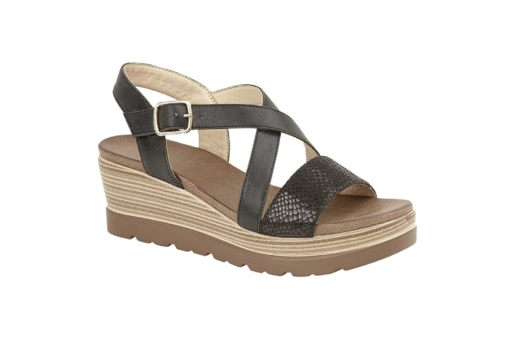 Cipriata WomensLadies Clarice Crossover Buckle Wedge Casual Shoes (Black) (6 UK)