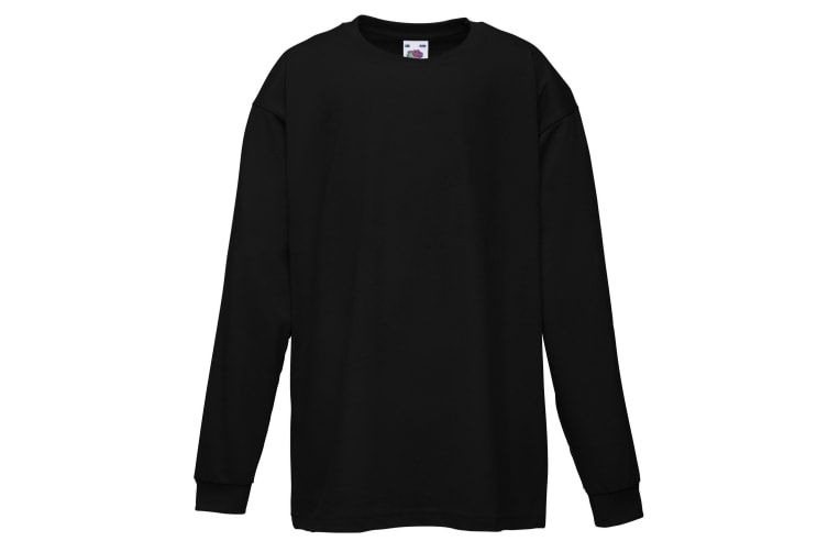 Fruit Of The Loom Childrens/Kids Long Sleeve T-Shirt (Pack of 2) (Black) (9-11)
