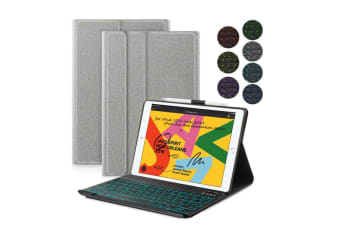 """AU For iPad 7th Gen 10.2"""" 2019 Backlit Bluetooth Keyboard Stand Cover Smart Case-Grey"""