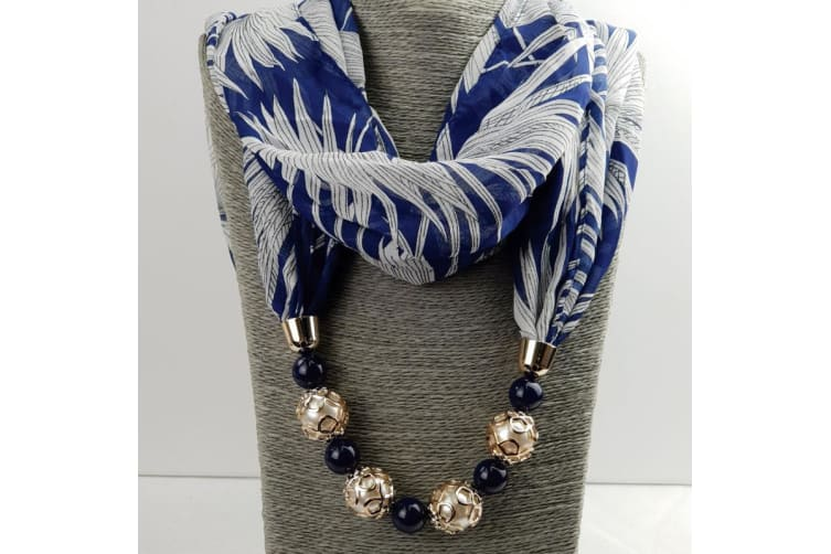Navy Chiffon Scarf with Necklace in Personalised Box - Grandma