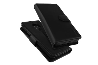 For Samsung Galaxy S9 Wallet Case iCoverLover Real Cow Leather Cover Black