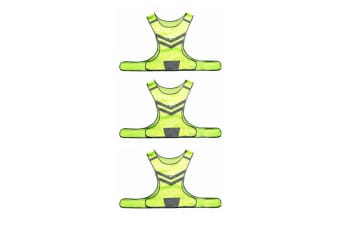 3PK Hi Vis Reflective/LED Flashing Running/Cycling Safety Vest Jacket Waistcoat